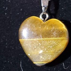 Genuine Tiger Eye Stone Heart Necklace